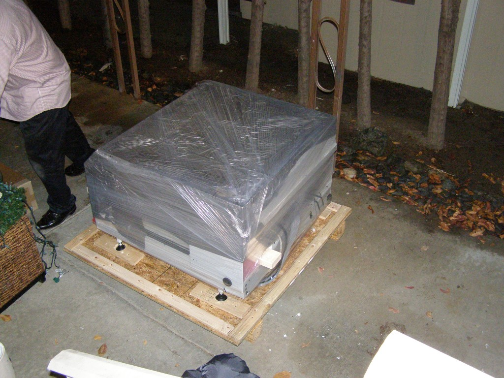 The LE40V still wrapped in plastic