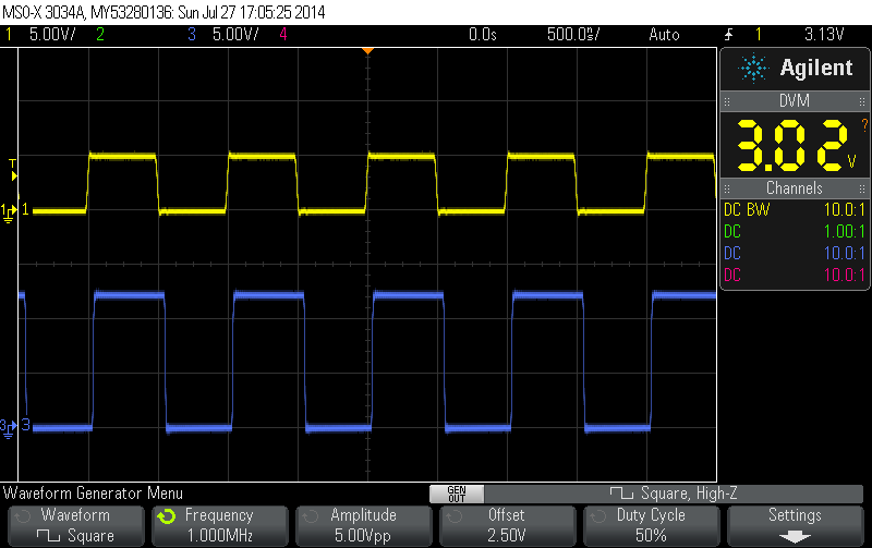 100kHz 50% duty cycle 5V square wave input.  Yellow is the input, Blue is the output signal